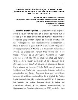 FUENTES PARA LA HISTORIA DE LA REVOLUCIÓN MEXICANA