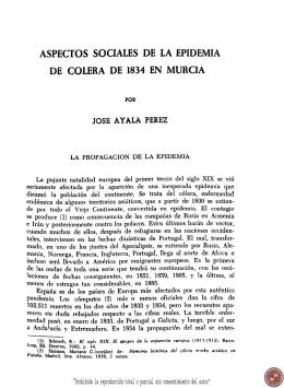 Aspectos sociales de la epidemia de cólera de 1834 en Murcia