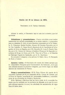 Sesión del 10 de febrero de 1934. Abierta la sesión, el Secretario