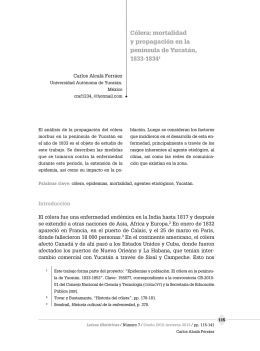 Cólera: mortalidad y propagación en la península de Yucatán, 1833