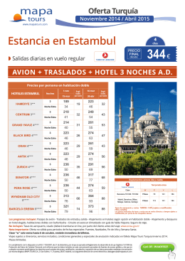 Estancias en Estambul Nov. a Abr. 2015