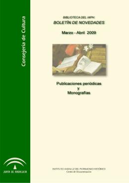BIBLIOTECA DEL IAPH: Novedades marzo-abril, 2009
