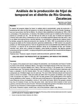 Análisis de la producción de frijol de temporal en el distrito de Río