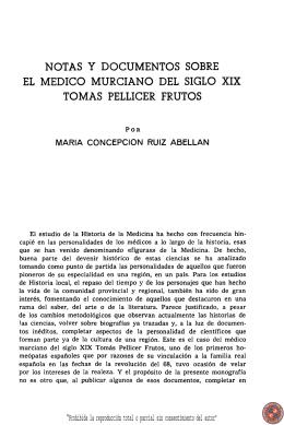 notas y documentos sobre el medico murciano del siglo xix tomas