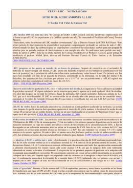 CERN – LHC NOTICIAS 2009 SITIO WEB: ACERCÁNDONPS AL