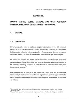 CAPITULO II. MARCO TEORICO SOBRE: MANUAL, AUDITORIA