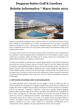 Duquesa Suites Golf & Gardens Boletín Informativo * Mayo