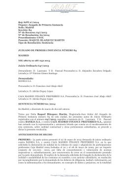 SJPI Nº 84, Madrid, núm. 60/2014, del 17 de marzo de 2014