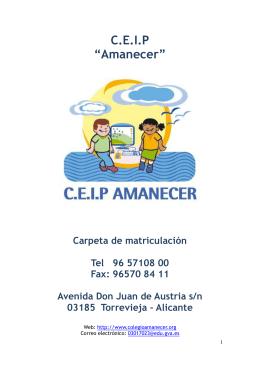 carpeta de matriculación - Colegio Amanecer Torrevieja