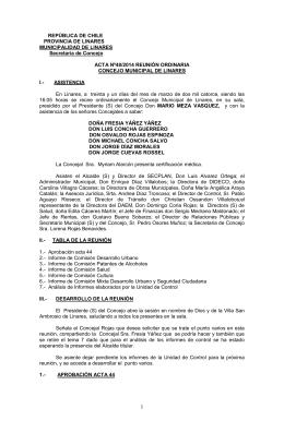 REPÚBLICA DE CHILE PROVINCIA DE LINARES MUNICIPALIDAD