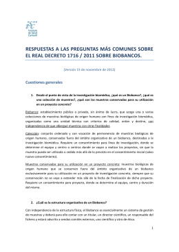 Preguntas frecuentes en relación con el Real Decreto 1716/2011 de