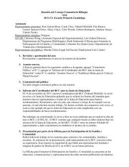 Reunión del Consejo Comunitario Bilingüe Acta 18/11/13