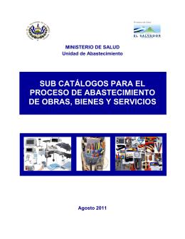 sub catálogos para el proceso de abastecimiento de obras, bienes y