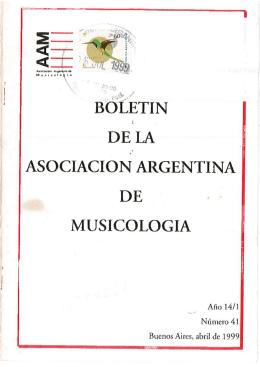 BOLETIN DELA ASOCIACION ARGENTINA DE MUSICOLOGIA