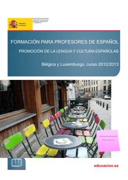 Plan de formación para profesores de español. Curso 2012/2013