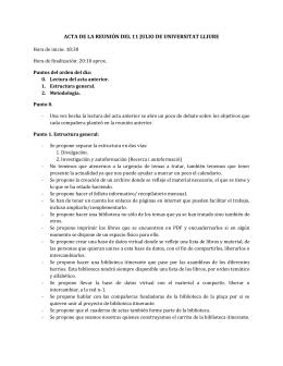 ACTA DE LA REUNIÓN DEL 11 JULIO DE UNIVERSITAT LLIURE