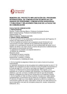 memoria del proyecto implantación del programa internacional de