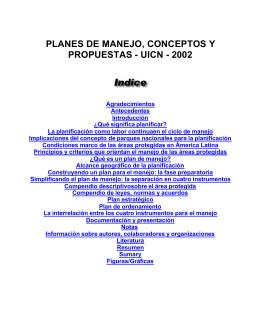 PLANES DE MANEJO jcc - Páginas del Personal Académico de la