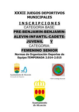 XXXII JDM Normativas Organ. X FMFSDeleg.Alc.Categ.Base y Fem