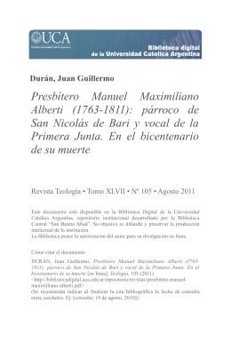 Presbítero Manuel Maximiliano Alberti (1763