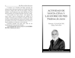 ACTIVIDAD DE SANTA CENA Y LAVATORIO DE PIES Palabras de