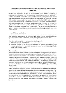 Los métodos cualitativos y cuantitativos y otras consideraciones