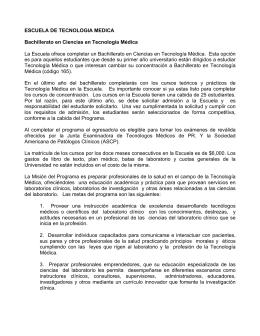 ESCUELA DE TECNOLOGIA MEDICA Bachillerato en Ciencias en