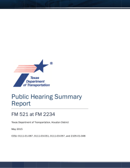 Public Hearing Summary - the Texas Department of Transportation