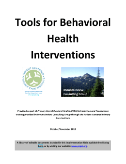 Tools for Behavioral Health Interventions