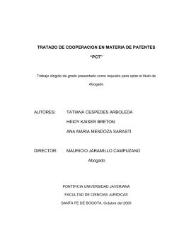 "Tratado de Cooperación en Materia de Patentes ""PCT""."