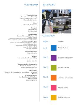 actualidad agosto 2012 contenido - Pontificia Universidad Católica