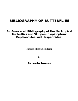 bibliography of butterflies - Museo de Historia Natural