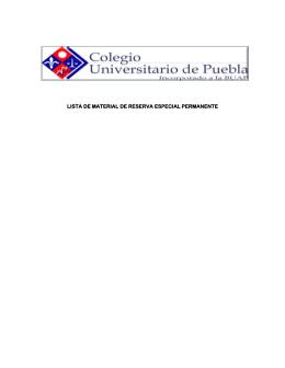 LISTA DE MATERIAL DE RESERVA ESPECIAL PERMANENTE