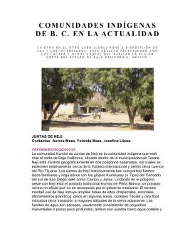 COMUNIDADES INDÍGENAS DE B. C. EN LA ACTUALIDAD
