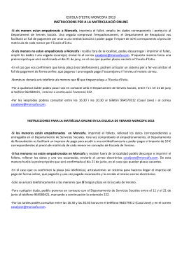 escola d`estiu moncofa 2013 instruccions per a la matriculació online