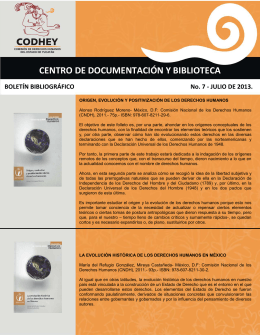Boletín bibliográfico 07/2013 - Comisión de Derechos Humanos del