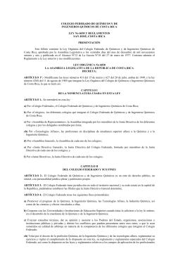 Ley Nº6038 y Reglamentos - El Colegio de Quimicos de Costa Rica