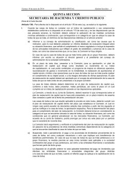 quinta seccion secretaria de hacienda y credito publico - Diario-o