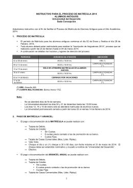 INSTRUCTIVO PARA EL PROCESO DE MATRÍCULA 2014