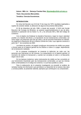 Documentos Mercantiles. Temática: Ciencias Econó