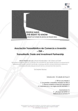 Asociación Transatlántica de Comercio e Inversión – TTIP