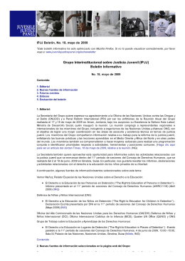Grupo Interinstitucional sobre Justicia Juvenil (IPJJ) Boletín