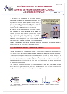 EQUIPOS DE PROTECCION RESPIRATORIA: ¡NECESITO