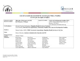 Acta de la reunión de la Sociedad de Asesoría para Niños y Familias