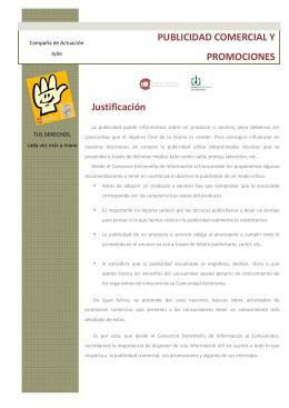 """julio 2015: """"publicidad comercial y promociones""""."""