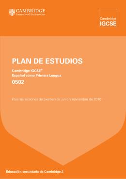 PLAN DE ESTUDIOS - Cambridge International Examinations