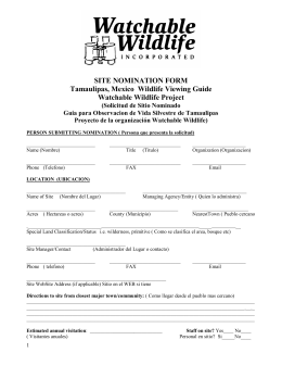 SITE NOMINATION FORM Tamaulipas, Mexico Wildlife Viewing