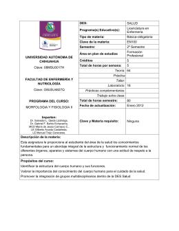 morfologia y fisiologia ii - Facultad de Enfermería y Nutriología