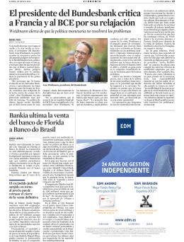 El presidente del Bundesbank critica a Francia y al BCE por