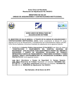 Aviso Único de Resultado Resolución de Adjudicación No.195/2013